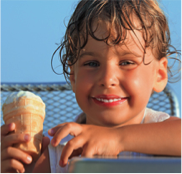 child with ice cream cone